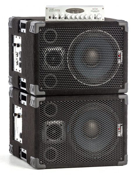 WJ 1x10 pair stacked with pre amp. 1000 Watt 1x10 Stereo/Mono pair Bass Cabinets are 500 Watt a side, 4 ohm cabinets that can be used in stereo or parallel mono. They have the same driver & tweeter as the 2x10 except they are 4 ohm drivers.