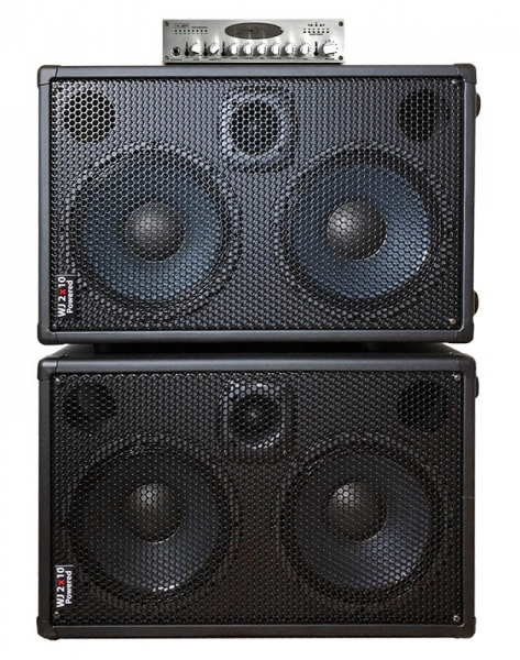 WJ 2x10 pair of Powered Bass Cabinets, 2000 Watts, with Stereo Valve Bass Pre-amp. Compact, portable High End, High Powered, Full Range Bass Cabinet for bass guitar players.