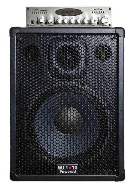 Wayne Jones Audio - single 1x10 4 ohm Powered Bass Cabinet with Stereo Valve bass pre-amp. 1000 Watt Stereo Amp (500 Watt a side). Has the same driver & tweeter as the 2x10 except they are 4 ohm drivers. Bass cabinet for bass guitar players, upright bass & double bass players.