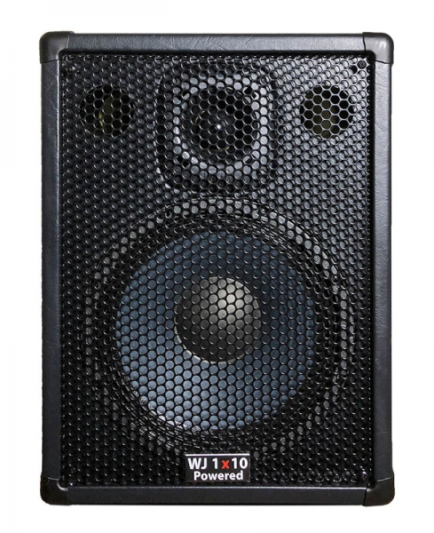 Wayne Jones Audio - single 1x10 4 ohm Powered Bass Cabinet. 1000 Watt Stereo Amp (500 Watt a side). Has the same driver & tweeter as the 2x10 except they are 4 ohm drivers. Bass cabinet for bass guitar players, upright bass & double bass players.