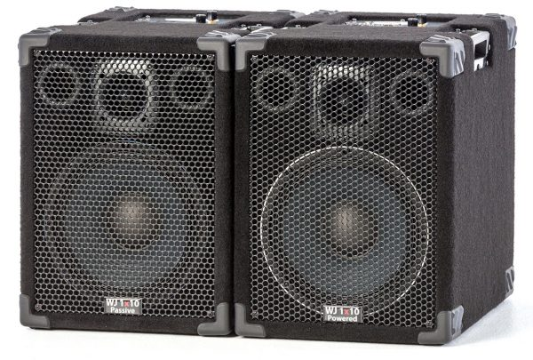 The WJ 1x10, 1000 Watt 1x10 Stereo/Mono Bass Cabinets.Are 500 Watt a side, 4 ohm cabinets that can be used in stereo or parallel mono. They have the same driver & tweeter as the 2x10 except they are 4 ohm drivers. Bass cabinets for bass guitar players, upright bass & double bass players.