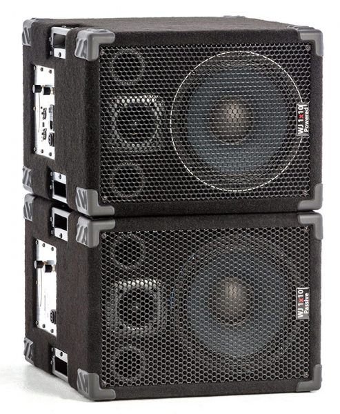 The WJ 1x10s, 1000 Watt 1x10 Stereo/Mono Bass Cabinets.Are 500 Watt a side, 4 ohm cabinets that can be used in stereo or parallel mono. They have the same driver & tweeter as the 2x10 except they are 4 ohm drivers. Bass cabinets for bass guitar players, upright bass & double bass players.