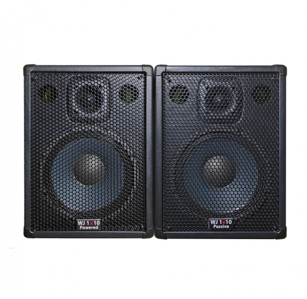 The WJ 1x10, 1000 Watt 1x10 Stereo/Mono Bass Cabinets are 500 Watt a side, 4 ohm cabinets that can be used in stereo or parallel mono. They have the same driver & tweeter as the 2x10 except they are 4 ohm drivers. Bass cabinets for bass guitar players, upright bass & double bass players.