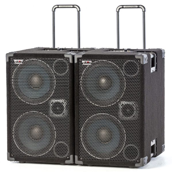 Wayne Jones Audio - 2000 Watt 4x10 in 2 Powered Bass Cabinets. Spoil yourself with 2 cabinets & have 2000 watts in 4x10's. Compact, portable High End, High Powered, Full Range Bass Cabinets that only require a pre-amp, your bass & yourself. Bass cabinets for bass guitar players.