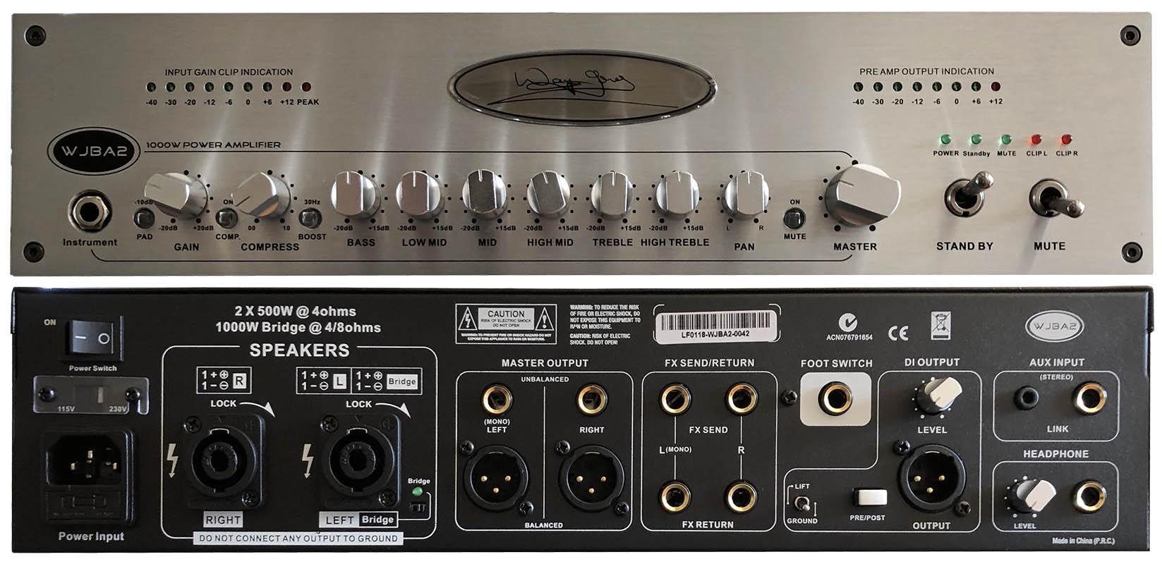 WJBA2 1000 Watt Bass Guitar Amplifier