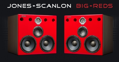 Jones-Scanlon Baby Reds studio monitors - recording engineering, audio and film post production, sound track mastering, audio mixing, sound mixing, recording studio gear. Far field monitoring systems.