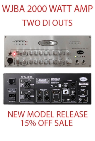 WJBA 2000 Watt Twin DI Bass Guitar Amplifier with built in Twin Channel Bass Pre-Amp, featuring the option of phantom power on the second channel. 2000 Watts into 4 or 8 Ohms.